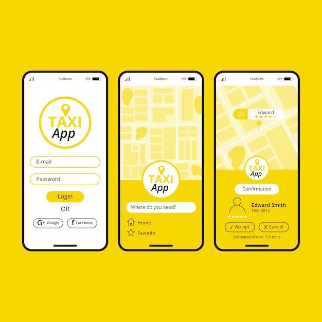 Interfejs Koncepcji Aplikacji Taxi Darmowych Wektorów
