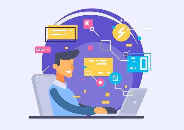 Interfejs Użytkownika, Tworzenie Aplikacji I Ui, Ux. Kreatywna Ilustracja. Premium Wektorów
