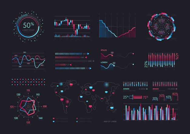 Interfejs wektorowy inteligentnej technologii hud Premium Wektorów