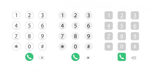 Interfejs Wybierania W Telefonie. Klawiatura Z Cyframi. Wybieranie Numeru Do Połączenia. Premium Wektorów