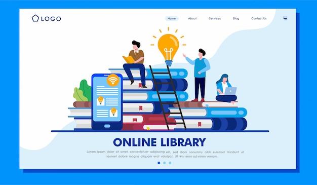 Internetowa Biblioteczna Strona Docelowa Strony Internetowej Ilustracja Premium Wektorów