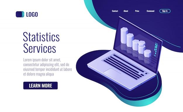 Internetowa statystyka i przetwarzanie danych, wykres słupkowy informacji na ekranie laptopa Darmowych Wektorów
