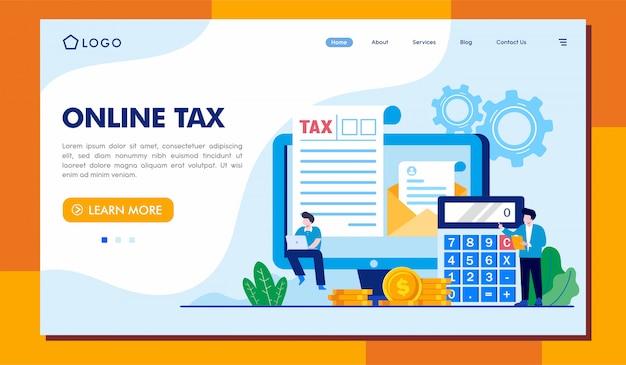 Internetowa strona docelowa podatku ilustracja witryny Premium Wektorów