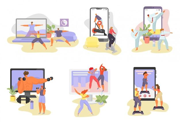 Internetowe Ilustracje Samouczka Sportowego, Postaci Z Kreskówek Kobieta Mężczyzna W Zdrowej Aktywności Sportowej Za Pomocą Lekcji Wideo Aplikacji Na Białym Premium Wektorów