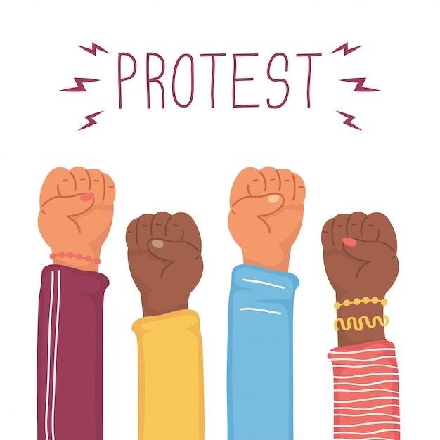 Interracial Ręce Ludzi Pięści Protestu Ilustracji Premium Wektorów