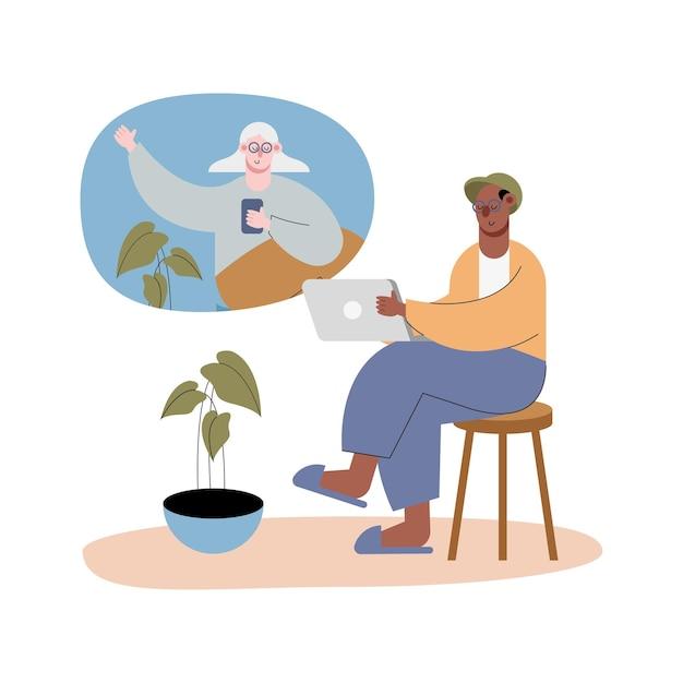 Interracial Staruszkowie Za Pomocą Technologii W Ilustracji Znaków Połączeń Wideo Premium Wektorów