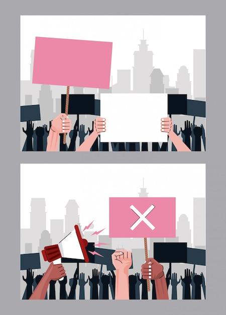 Interracial Wręcza Ludzi Protestujących Przeciwko Podnoszeniu Plakatów I Scen Z Megafonem Premium Wektorów