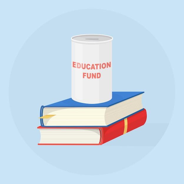 Inwestowanie Pieniędzy W Fundusz Edukacyjny. Stos Książek Z Pudełkiem Oszczędnościowym Premium Wektorów