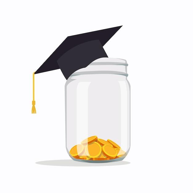 Inwestowanie W Pomysły Edukacyjne Opłaty Szkolne, Wydatki Na Edukację, Czesne, Czapka Z Monetami W Słoiku Ilustracja Wektorowa W Stylu Płaskiej Premium Wektorów
