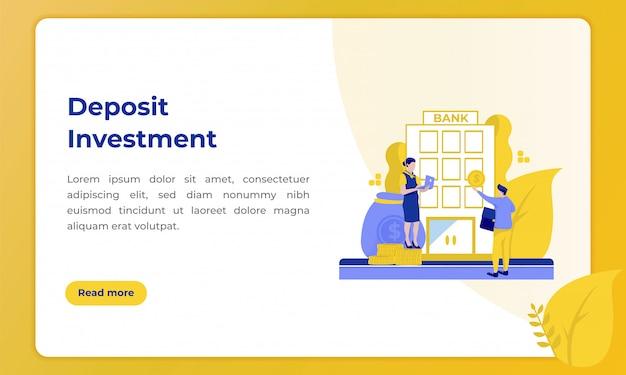 Inwestycja depozytowa, ilustracja z tematem branży bankowej Premium Wektorów