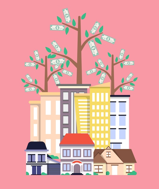 Inwestycja w koncepcję nieruchomości w płaskiej konstrukcji Premium Wektorów