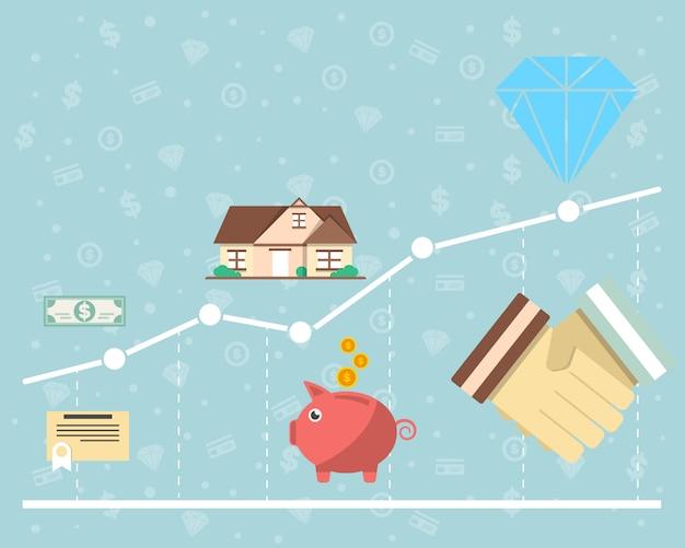 Inwestycja W Koncepcję Papierów Wartościowych W Płaskiej Konstrukcji Premium Wektorów