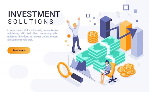 Inwestycyjni rozwiązania ląduje strona sztandar z isometric ilustracją Premium Wektorów