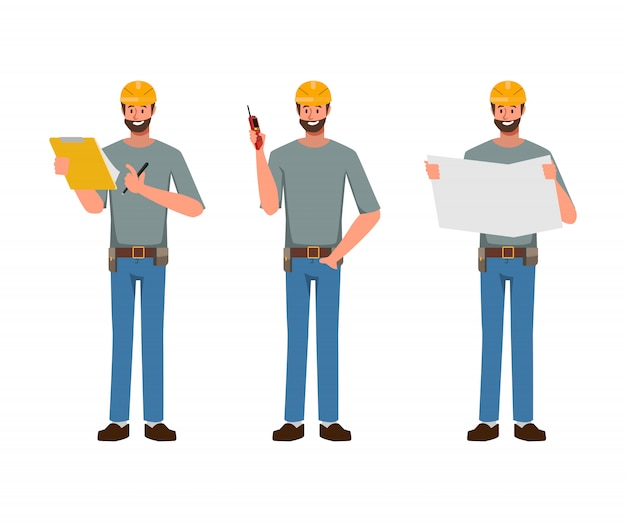 Inżynier ludzie charakter przemysłu i mechaniczne w pracy zawodu. Premium Wektorów