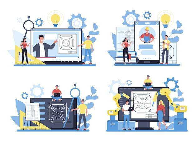 Inżynieria Usługi Lub Platformy Online Na Innym Zestawie Koncepcji Urządzenia. Technologia I Nauka. Zawód Zawodowy Przy Budowie Maszyn I Konstrukcji. Premium Wektorów