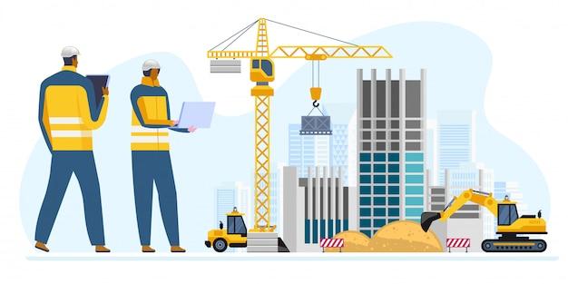 Inżynierowie płci męskiej i żeńskiej na budowie Premium Wektorów