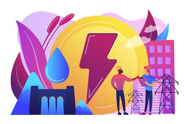 Inżynierowie Pracujący Przy Zaporze Wodnej Wytwarzającej Energię Opadającą Wody. Energia Wodna Energii Elektrycznej, Energia Wodna, Koncepcja źródeł Odnawialnych. Darmowych Wektorów