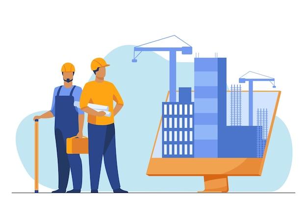 Inżynierowie Stojący W Pobliżu Dużego Monitora Z Budynkami. Projekt, Dźwig, Ilustracja Wektorowa Płaski Ekran. Budowa I Inżynieria Darmowych Wektorów