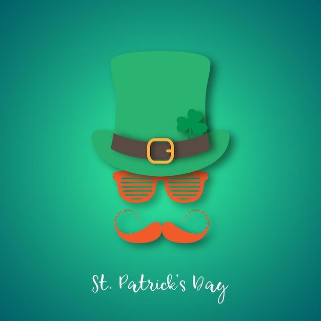 Irlandczyk z imbirowym wąsem w kapeluszu i okularach. Premium Wektorów