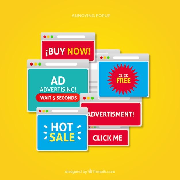 Irytująca kolekcja reklam pop-up Darmowych Wektorów