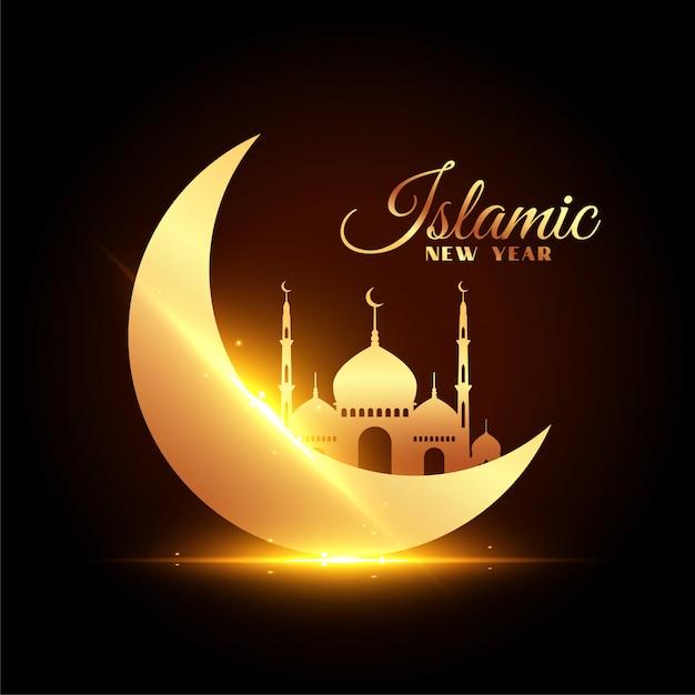 Islamska Karta Nowego Roku Z Pięknym Księżycem I Meczetem Darmowych Wektorów