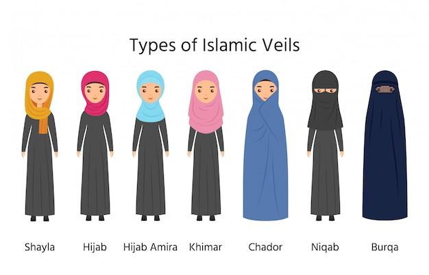 Islamska Odzież Damska, Muzułmańskie Welony, Rodzaje Hidżabu, Premium Wektorów