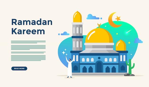 Islamska Płaska Ilustracja Dla Szczęśliwego Eid Fitr Lub Adha Mubarak I Ramadan Kareem Z Koncepcją Postaci Ludzi Do Szablonu Strony Docelowej Premium Wektorów