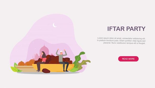 Islamska rodzina iftar zjada stronę docelową na czczo Premium Wektorów