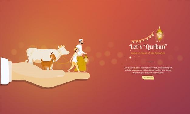 Islamska święto Poświęcenia Koncepcji Pozdrowienia Eid Al Adha Premium Wektorów