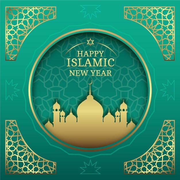 Islamski Nowy Rok W Stylu Papierowym Darmowych Wektorów