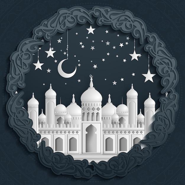 Islamski Piękny Szablon. Meczet Z Księżyca I Gwiazd Na Białym Tle W Stylu Cięcia Papieru. Premium Wektorów