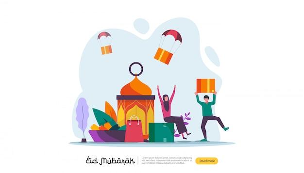 Islamski Projekt Ilustracja Koncepcja Happy Eid Mubarak Lub Ramadan Pozdrowienia Z Charakterem Ludzi. Premium Wektorów