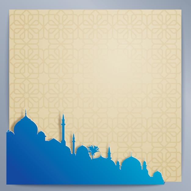 Islamski Wzór Tła Arabski Wzór I Sylwetka Meczetu Premium Wektorów