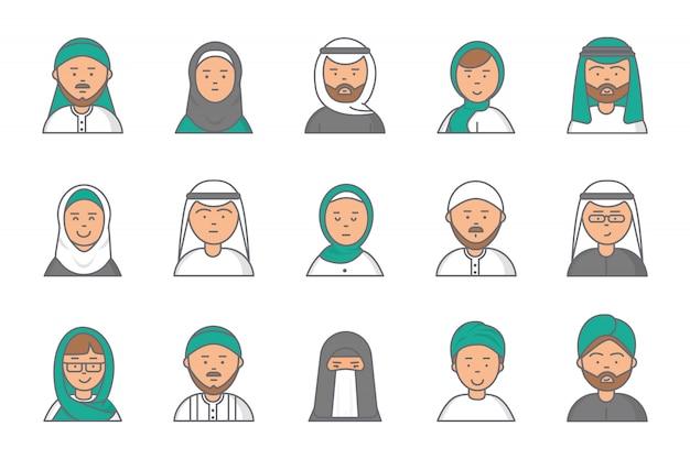 Islamskie awatary liniowe. arabskie muzułmańskie saudyjskie twarze mężczyzn i kobiet w profilu internetowym Premium Wektorów