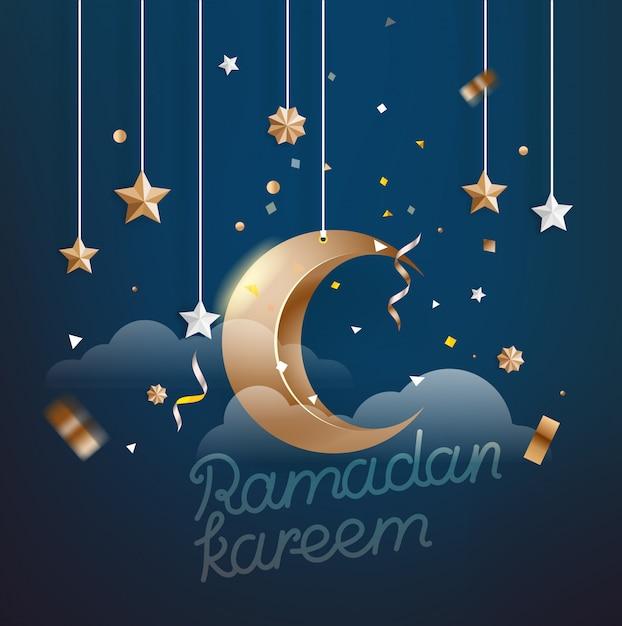 Islamskie święto Ramadan Kareem. Ilustracji Wektorowych Premium Wektorów