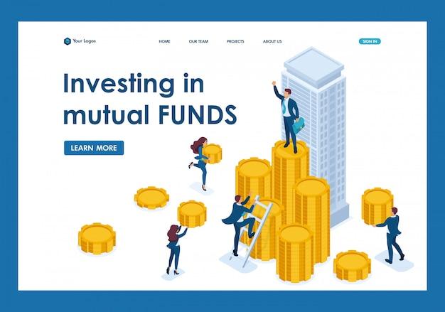 Isometric biznesmeni niosą pieniądze do firmy inwestycyjnej, strony docelowej instrumentu finansowego Premium Wektorów