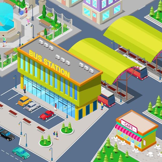 Isometric City Bus Station Z Autobusami, Parkingiem, Restauracją I Parkiem. Premium Wektorów