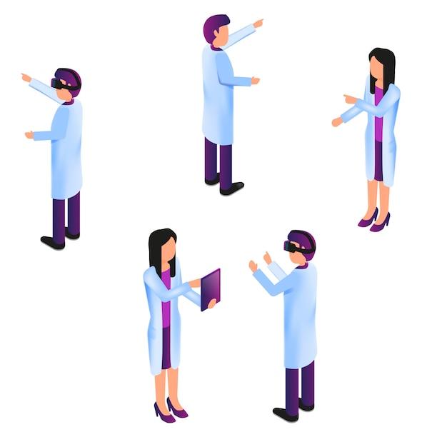 Isometric group doctor in process virtual reality Premium Wektorów