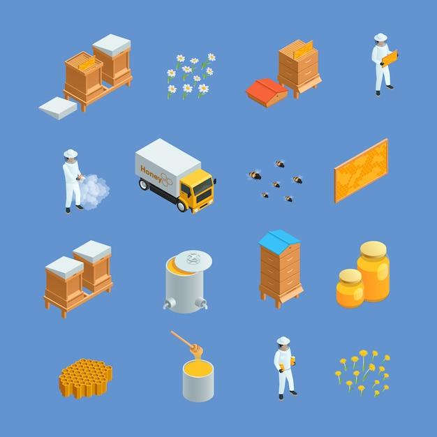 Isometric ikony ustawiać różni pszczelarscy pasieka elementy jak miodowy pszczoła uli apiarist odizolowywali v Darmowych Wektorów