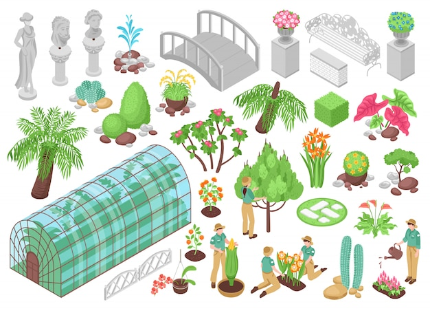 Isometric Ikony Ustawiać Z Różnorodnymi Drzewami Zasadzają Kwiaty I Dekoracje Dla Ogródu Botanicznego Odizolowywającego Na Białym 3d Darmowych Wektorów