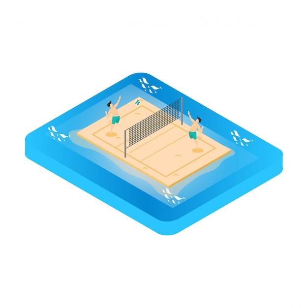 Isometric ilustracja bawić się plażową salwę. letnia aktywność na świeżym powietrzu. Premium Wektorów