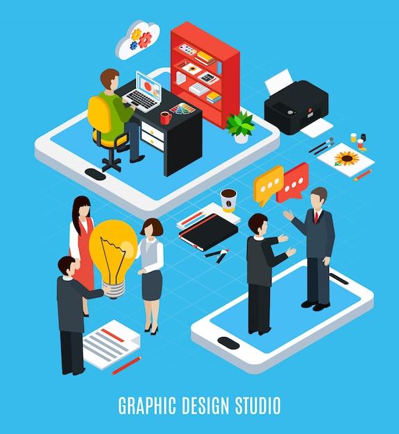 Isometric Pojęcie Z Graficznego Projekta Studiiem, Ilustratorem, Projektantem I Narzędziami Dla Pracy 3d Odizolowywał Wektorową Ilustrację Darmowych Wektorów