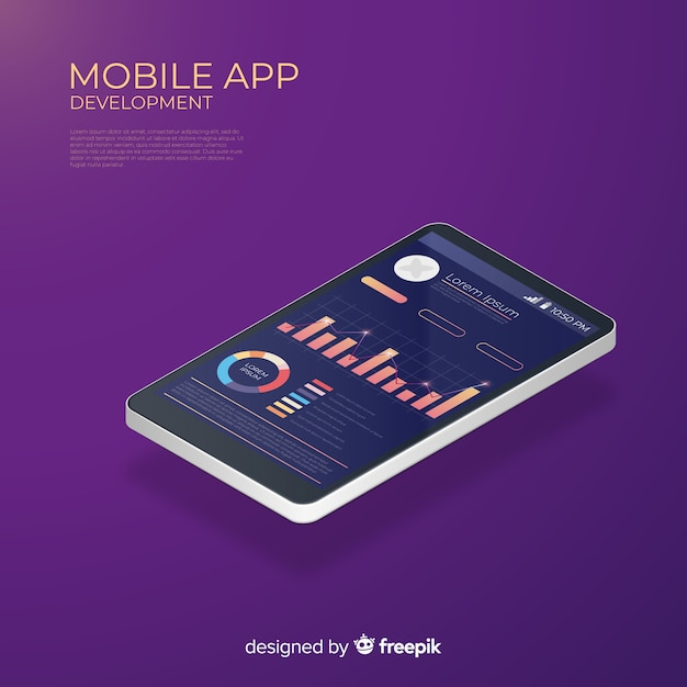 Isometric running infographic app mobilny Darmowych Wektorów