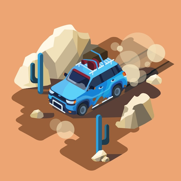 Isometric Safari Samochodowa Jazda Przez Zakurzonego Pustynnego Kaktusa Krajobrazu. Darmowych Wektorów