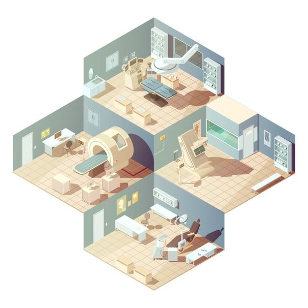 Isometric Sala Szpitalna Z Różnorodnym Wyposażeniem Dla Egzaminacyjnego Pojęcia Na Białym Tła Wektorze Darmowych Wektorów