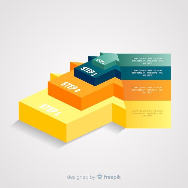 Isometric strzałkowaty infographic kroków szablon Darmowych Wektorów
