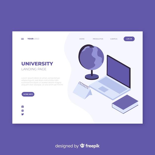 Isometric university landing page Darmowych Wektorów