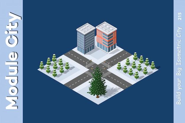 Isometric Winter Christmas Town Premium Wektorów