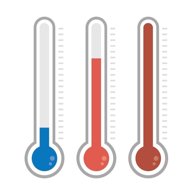 Izolowane Termometry W Różnych Kolorach Premium Wektorów