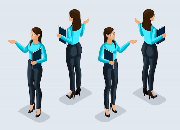 Izometria To Kobieta Biznesu. Pracownik Biurowy. Dziewczyna W Garniturze Widok Z Przodu I Tyłu. Ikona Człowieka Do Ilustracji Premium Wektorów